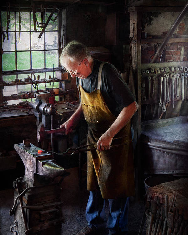 Blacksmith Poster featuring the photograph Blacksmith - Starting With A Bang by Mike Savad