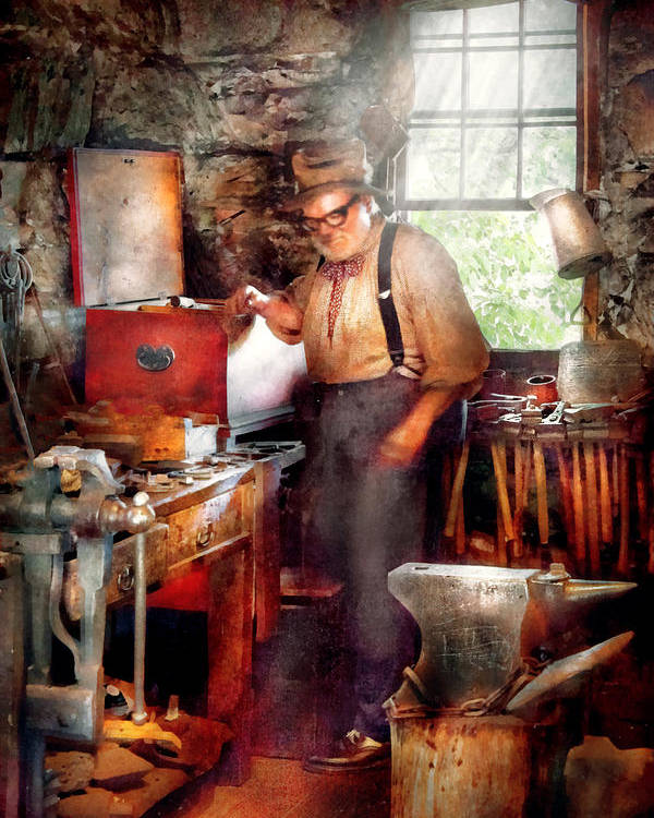 Blacksmith Poster featuring the digital art Blacksmith - The Smithy by Mike Savad