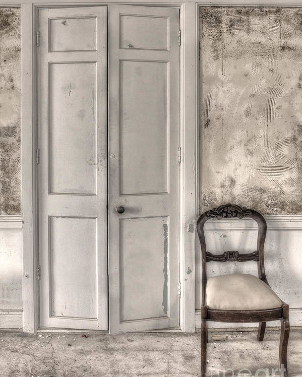 Chair; Empty; Minimal; Dirty; Old; Vintage; No One; Inside; Interior; Indoors; Foyer; Floor; Cement; Wall; Wood; Hall; Painted; Door; Doorway; Closed; Still Life Poster featuring the photograph Blandness by Margie Hurwich