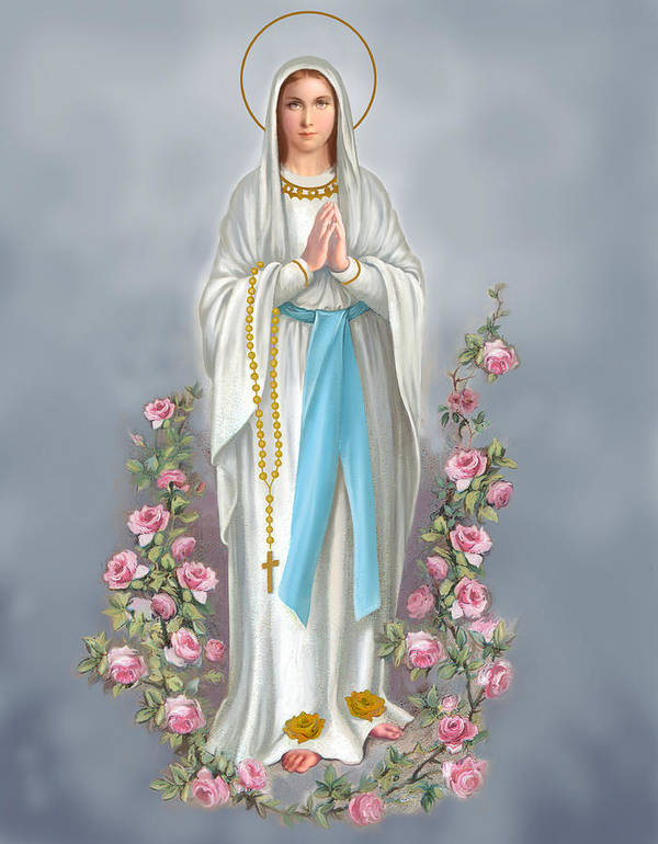 Blessed Virgin Poster featuring the painting Blessed Virgin by Valer Ian