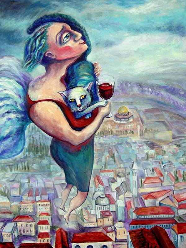 Judaic Poster featuring the painting Blessing Over The Wine by Elisheva Nesis