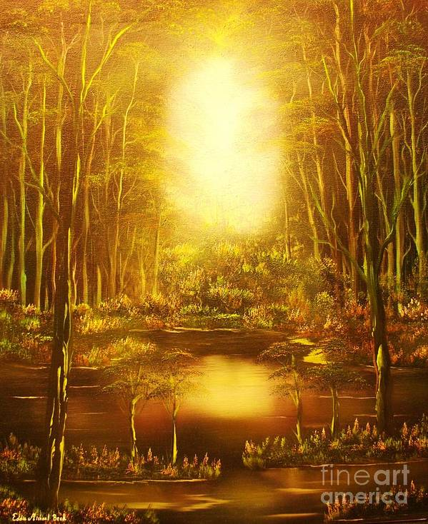 Landscape Poster featuring the painting Blinding Light-original Sold-buy Giclee Print Nr 36 Of Limited Edition Of 40 Prints  by Eddie Michael Beck