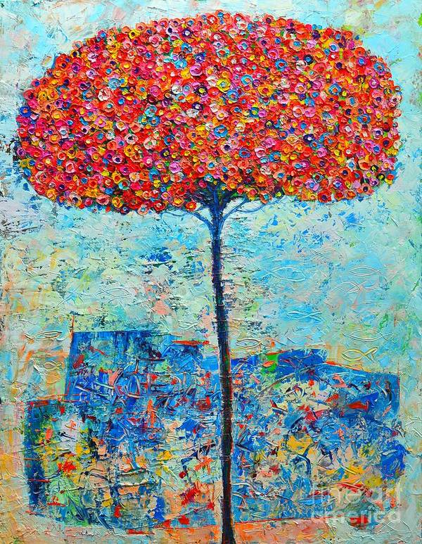 Tree Poster featuring the painting Blooming Beyond Known Skies - The Tree Of Life - Abstract Contemporary Original Oil Painting by Ana Maria Edulescu