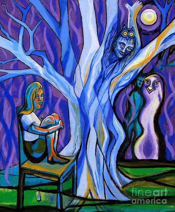 Girl Poster featuring the painting Blue And Purple Girl With Tree And Owl by Genevieve Esson