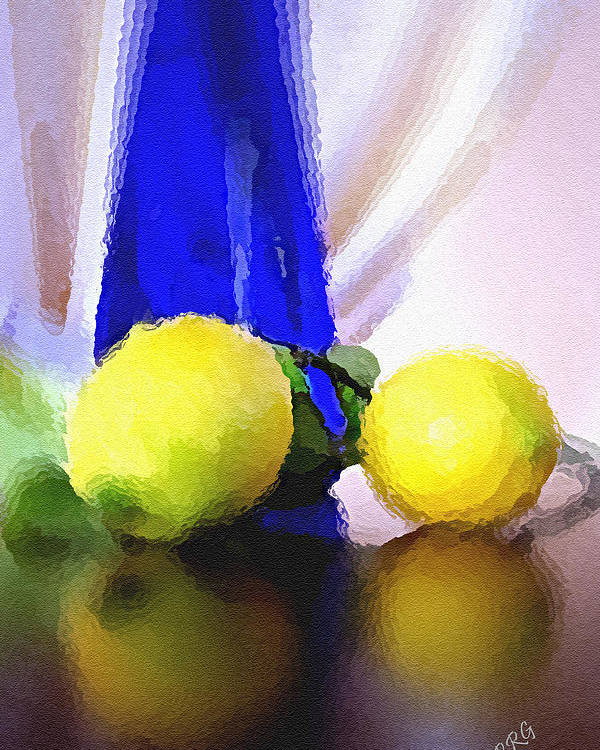 Still Life Poster featuring the photograph Blue Bottle And Lemons by Ben and Raisa Gertsberg