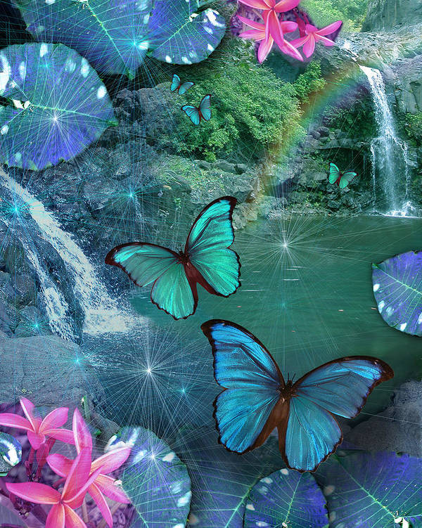 Alixandra Mullins Poster featuring the photograph Blue Butterfly Dream by Alixandra Mullins