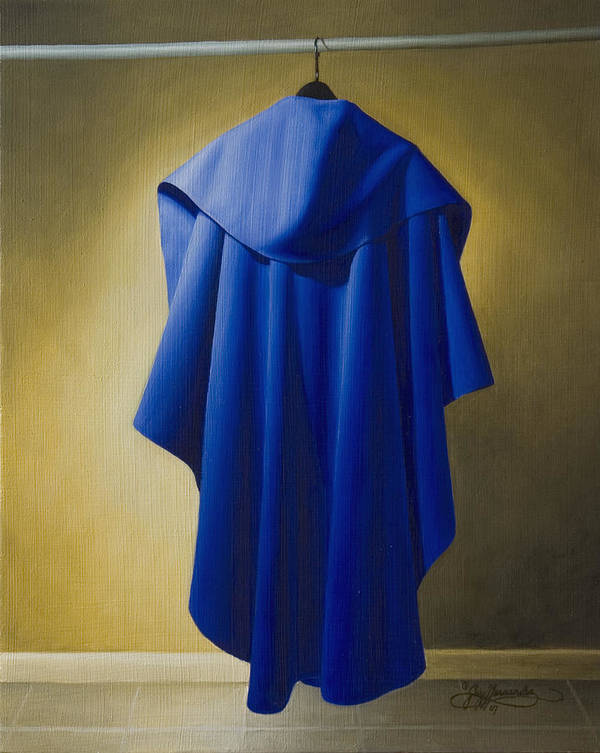 Realism Poster featuring the painting Blue Cape by Gary Hernandez