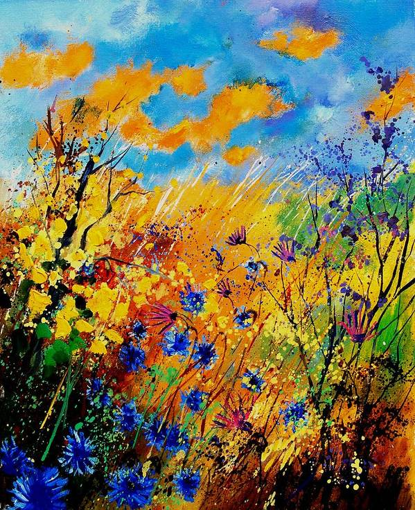 Poppies Poster featuring the painting Blue Cornflowers 450408 by Pol Ledent