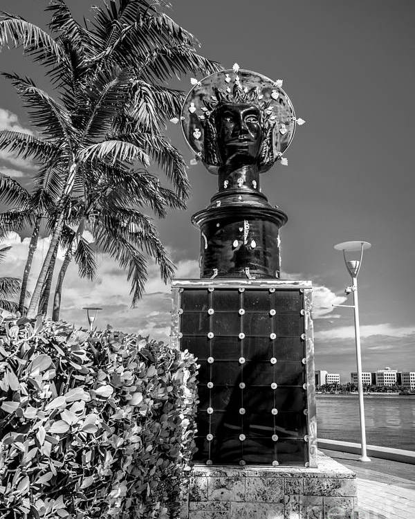 America Poster featuring the photograph Blue Crown Statue Miami Downtown - Black And White by Ian Monk