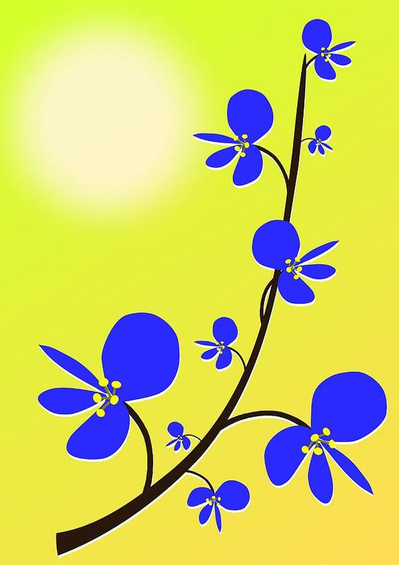 Nature Poster featuring the digital art Blue Flowers by Anastasiya Malakhova