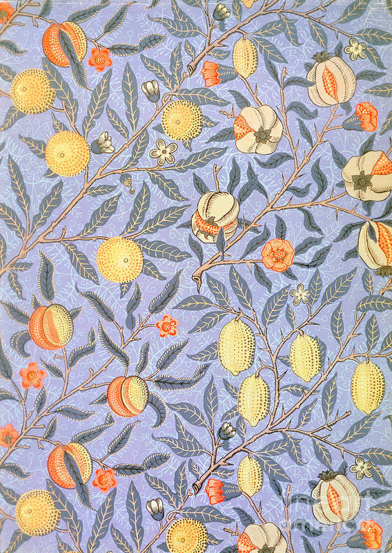 William Morris Poster featuring the tapestry - textile Blue Fruit by William Morris