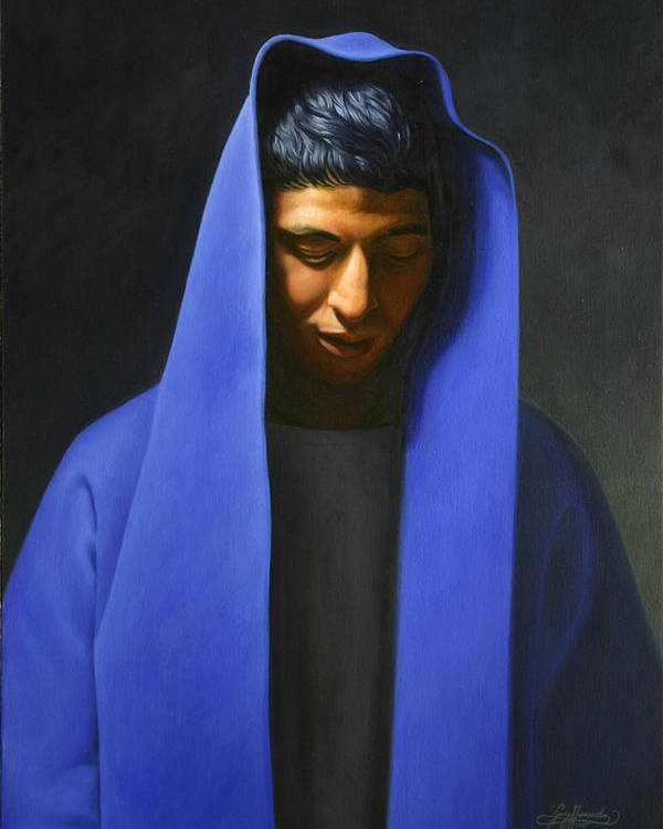 Blue Poster featuring the painting Blue by Gary Hernandez