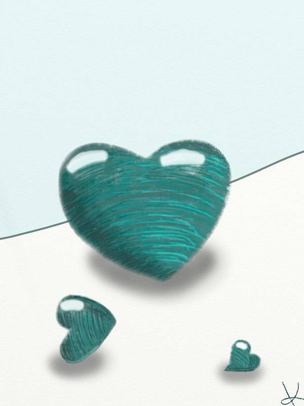 Hearts Poster featuring the digital art Blue Hearts by Kathleen Mosher
