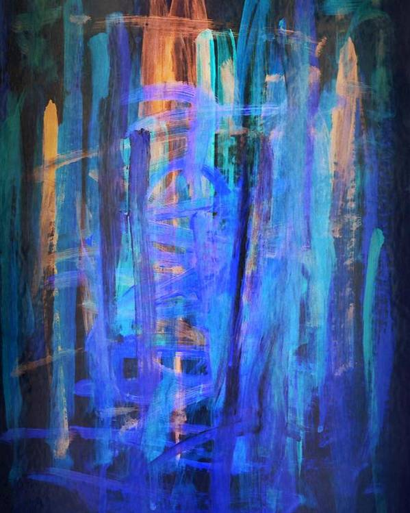 Painting Poster featuring the painting Blue Impression by Dimitra Papageorgiou