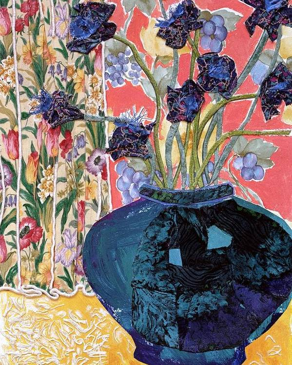 Flowers In A Vase Poster featuring the mixed media Blue In Blue by Diane Fine