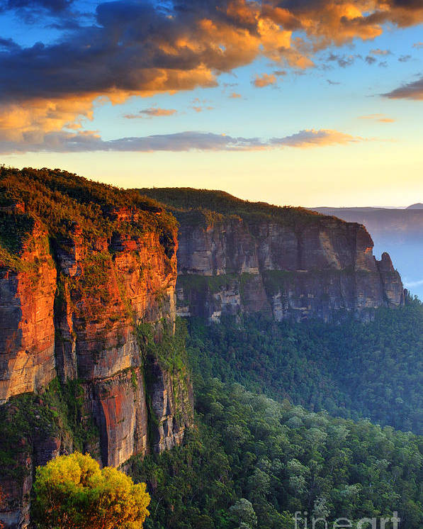 Dawn Poster featuring the photograph Blue Mountains by Colin Woods