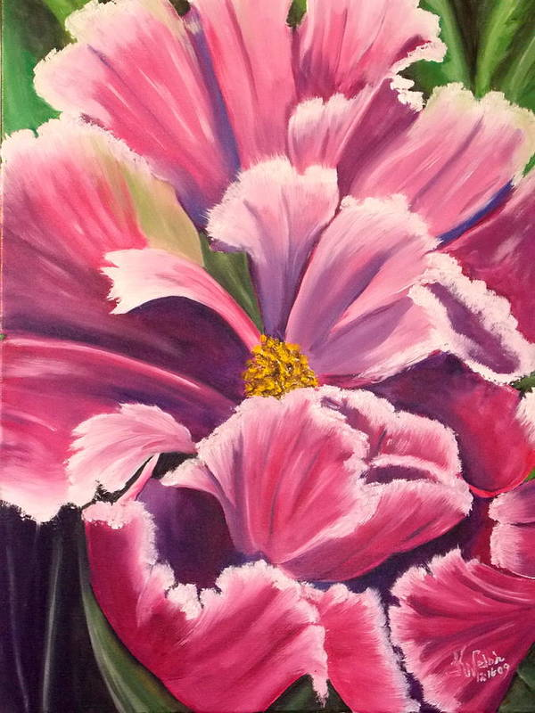 Flower Poster featuring the painting Blue Parrott Tulip II by Kathern Ware