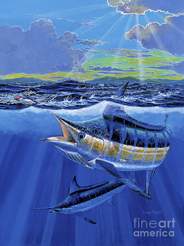 Blue Marlin Poster featuring the painting Blue Pitcher Off00115 by Carey Chen