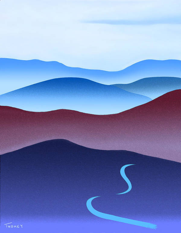 Crane Poster featuring the painting Blue Ridge Blue Road by Catherine Twomey