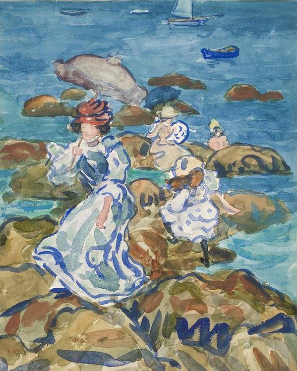 Coast Poster featuring the painting Blue Sea Classic by Maurice Brazil Prendergast