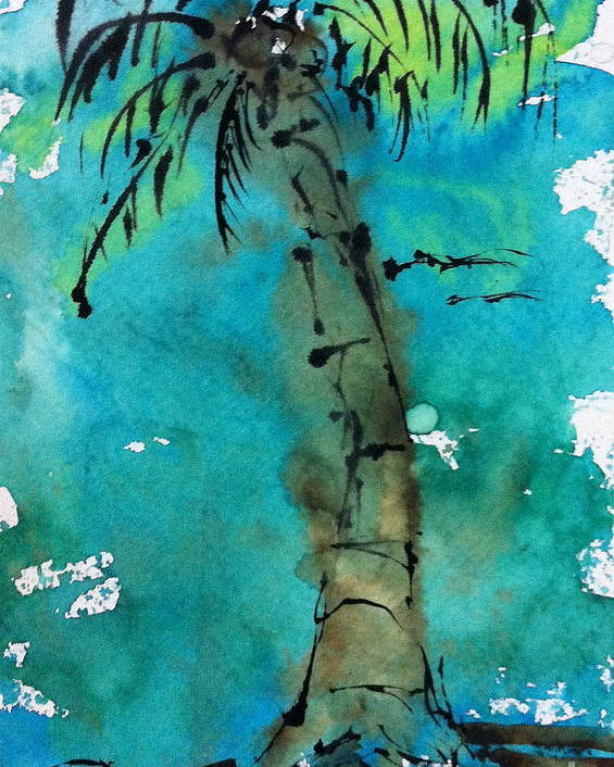 Watercolor Poster featuring the painting Blue Sky Palm by Norma Gafford