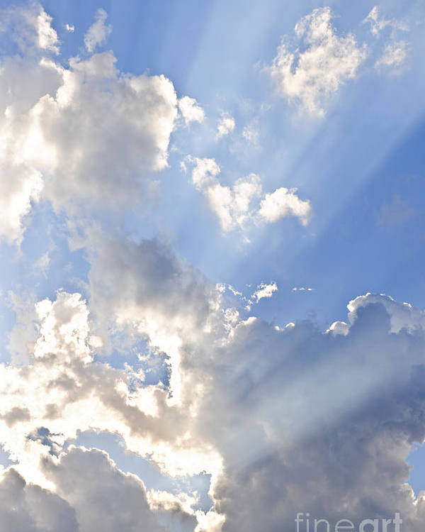 Sky Poster featuring the photograph Blue Sky With Sun Rays by Elena Elisseeva