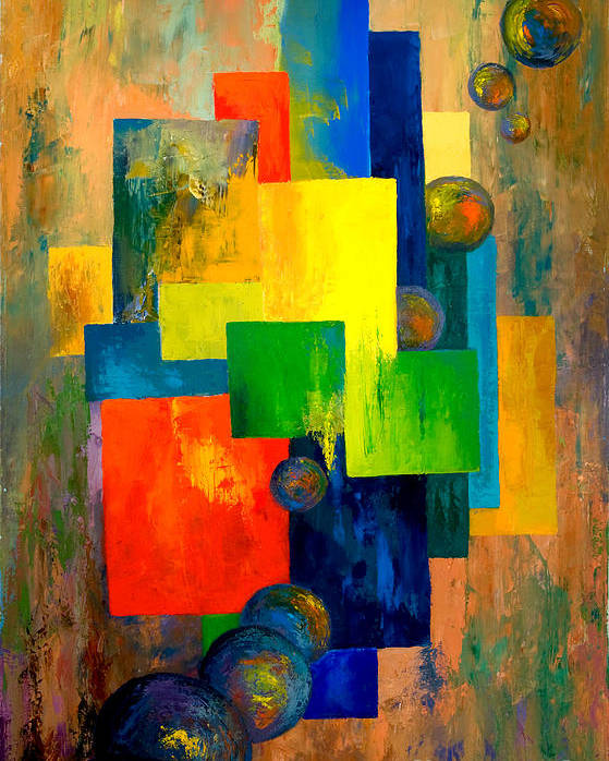 Abstract Poster featuring the painting Blue Squared by Larry Martin