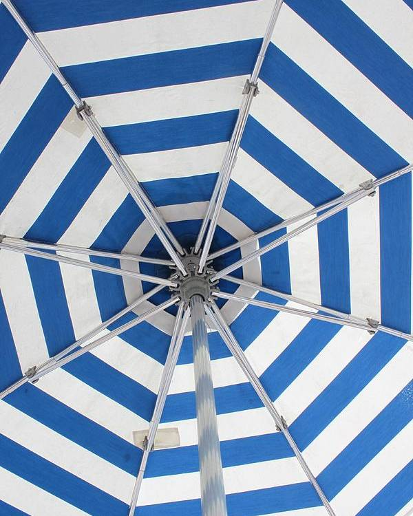 Umbrella Poster featuring the photograph Blue Striped Umbrella by Jerry Patterson