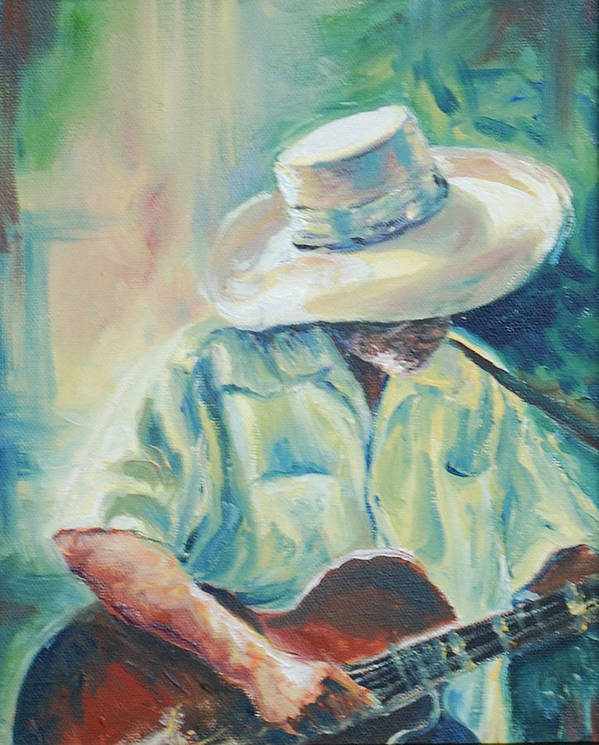 Singer Poster featuring the painting Blues Man by Sharon Sorrels