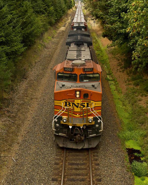 Bnsf Poster featuring the photograph Bnsf Train 789 E by John Brueske