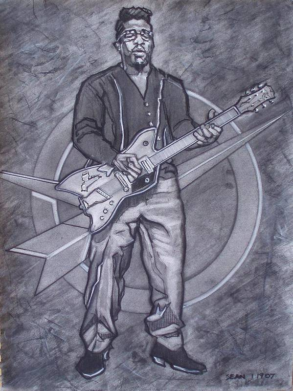 Texas;charcoal;king Of Rock;rock And Roll;music;1950s;blues;musician;funk;electric Guitar;marble;soul Poster featuring the drawing Bo Diddley - Have Guitar Will Travel by Sean Connolly