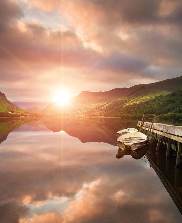 Landscape Poster featuring the photograph Boating Lake Sunrise by Matthew Gibson