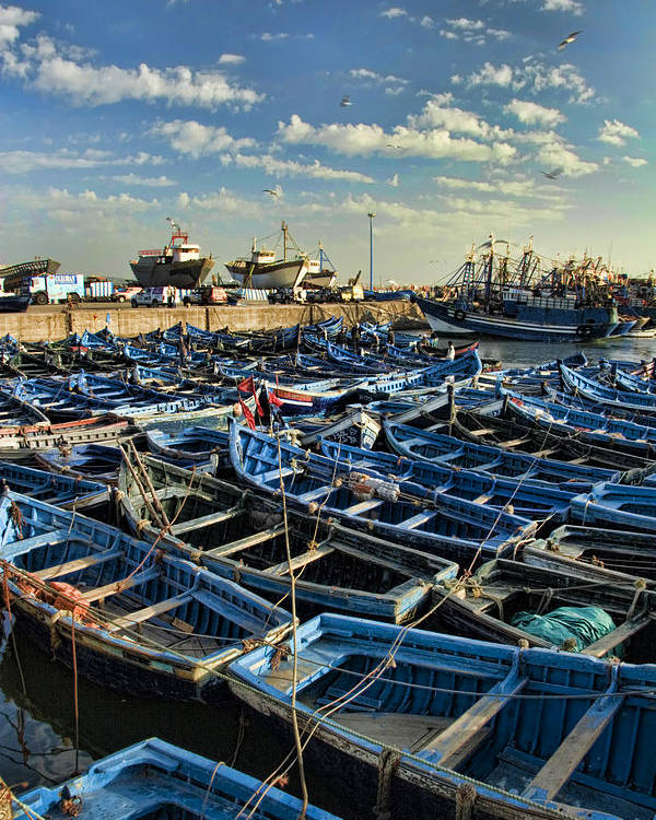 Dusk Poster featuring the photograph Boats In Essaouira Morocco Harbor by David Smith