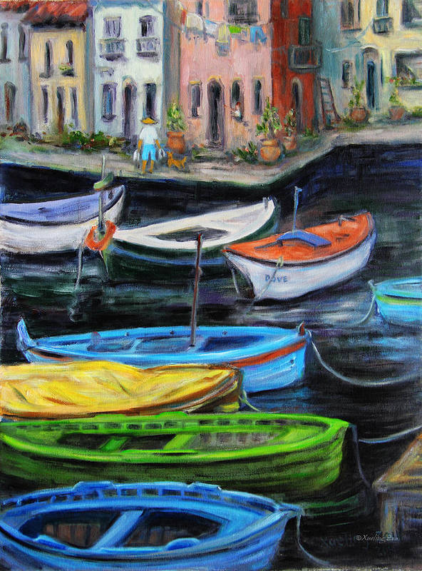 Village Poster featuring the painting Boats In Front Of The Buildings II by Xueling Zou