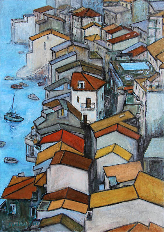 Roofs Poster featuring the painting Boats In Front Of The Buildings Iv by Xueling Zou