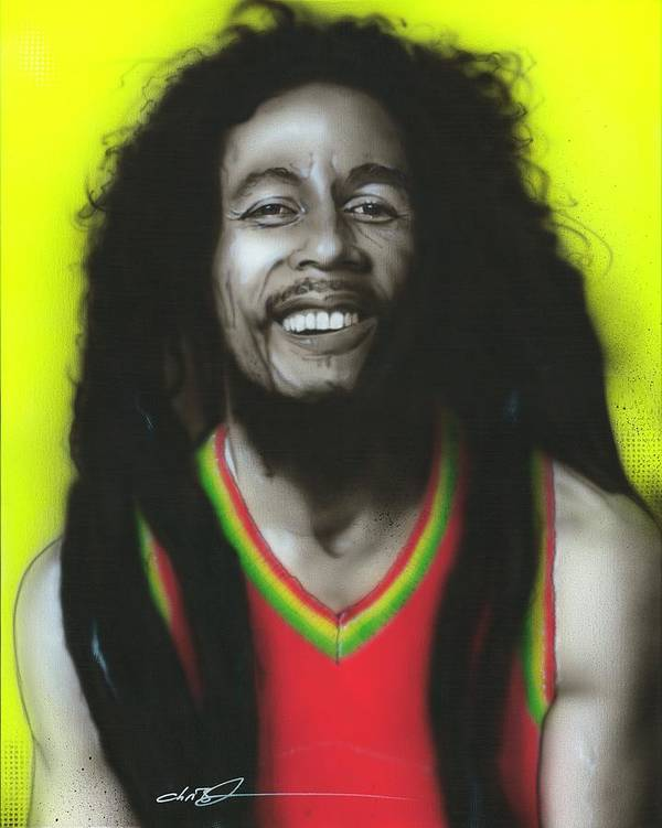 Bob Marley Poster featuring the painting Bob by Christian Chapman Art