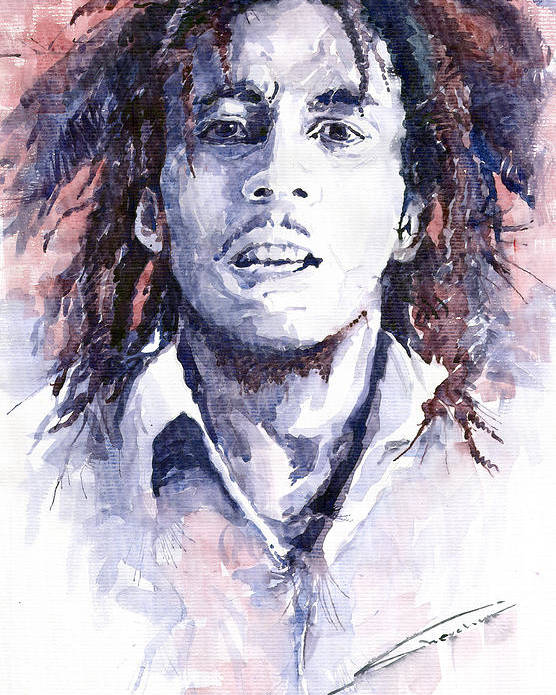 Watercolour Poster featuring the painting Bob Marley 3 by Yuriy Shevchuk