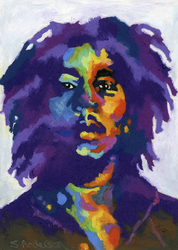Bob Marley Poster featuring the painting Bob Marley by Stephen Anderson