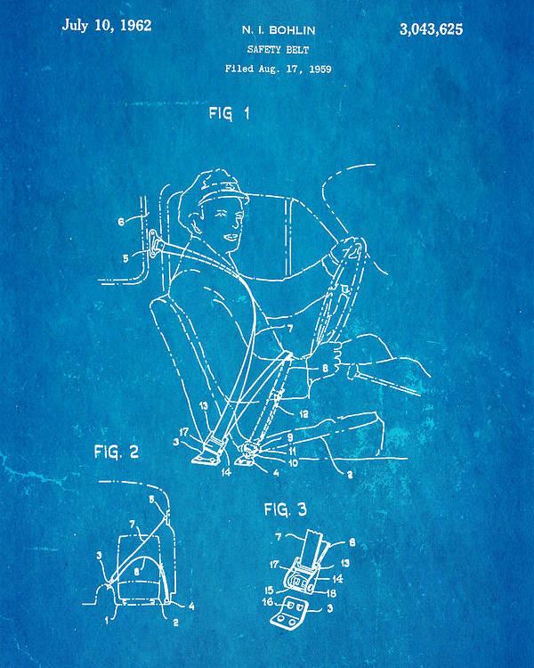 Automotive Poster featuring the photograph Bohlin Seatbelt Patent Art 1962 Blueprint by Ian Monk