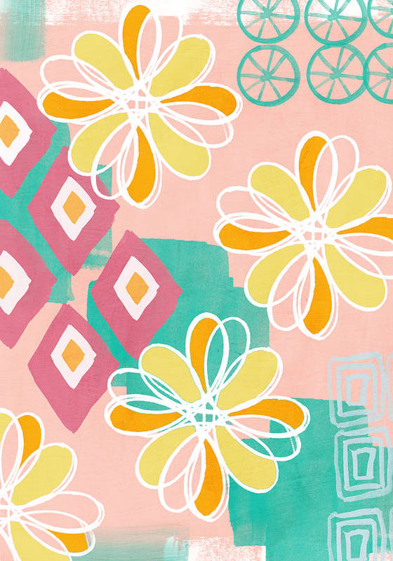 Pink Poster featuring the painting Boho Floral Garden by Linda Woods