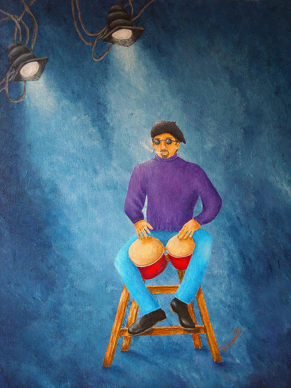 Pamela Allegretto-franz Poster featuring the painting Bongo Man by Pamela Allegretto
