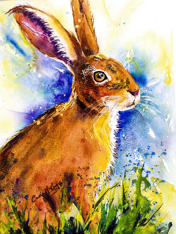 Rabbit Poster featuring the painting Bonny Bunny by Carrie McKenzie
