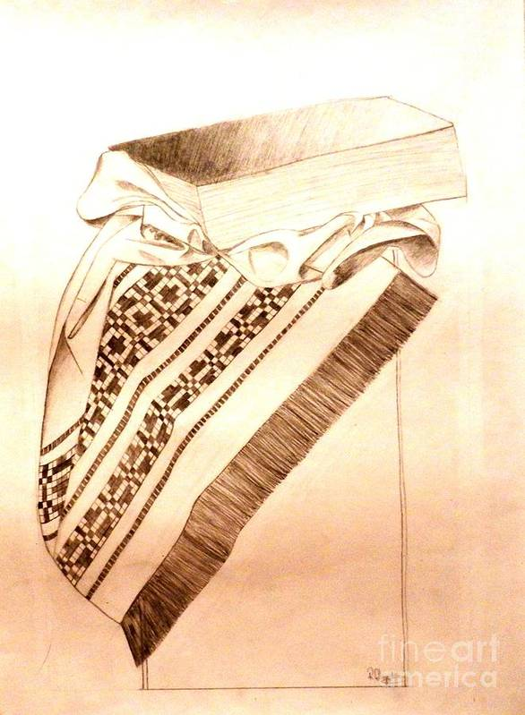 Pencil Poster featuring the drawing Book On Traditional Carpet by Olga R