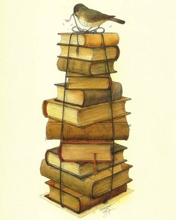 Books Greeting Cards Birds Poster featuring the painting Books and little Bird by Kestutis Kasparavicius