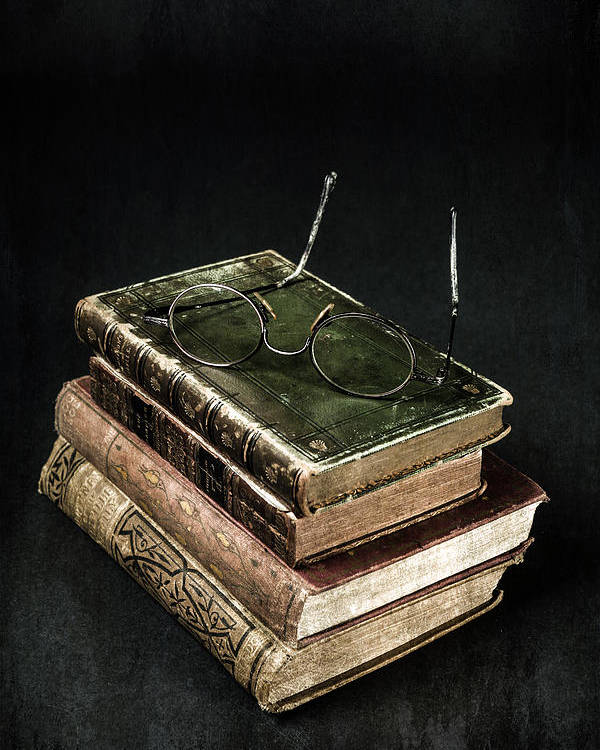 Book Poster featuring the photograph Books With Glasses by Joana Kruse