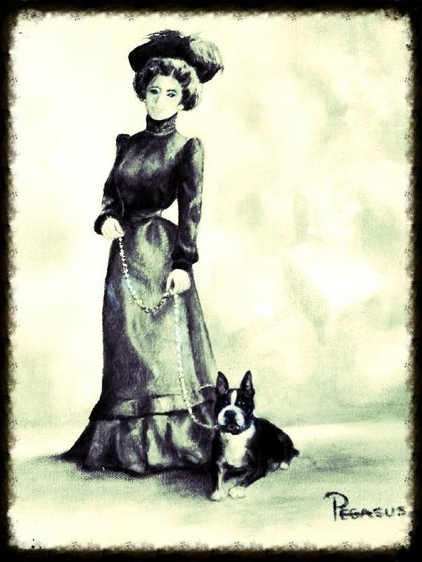 Dog Poster featuring the painting Boston Beauties 3 - Vintage Collection by Beverly Pegasus