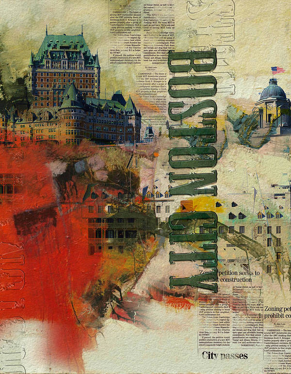 Boston City Poster featuring the painting Boston Collage by Corporate Art Task Force
