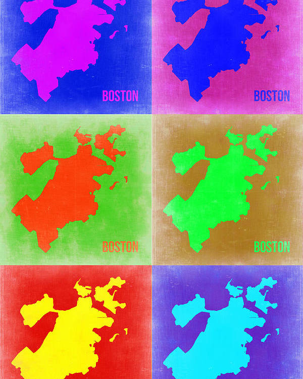 Boston Poster featuring the painting Boston Pop Art Map 3 by Naxart Studio