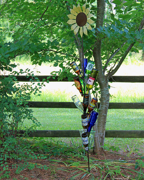Bottle Poster featuring the photograph Bottle Tree by Suzanne Gaff