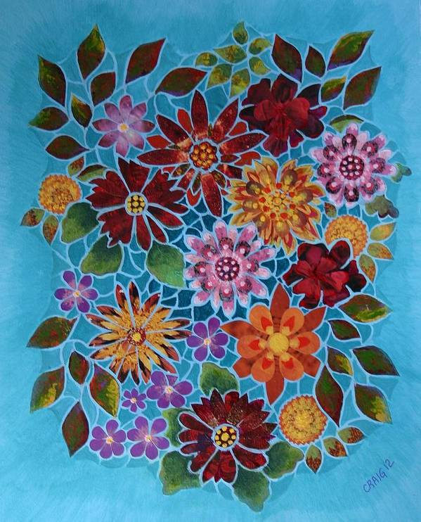 Flowers Poster featuring the mixed media Bouquet Ala Tiffany by Bob Craig